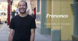 Fra, international student from Italy, studying Hospitality at TasTAFE