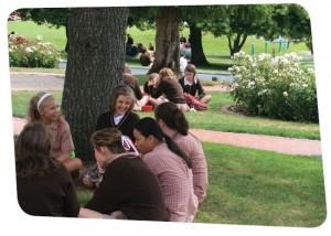 Ogilvie High School students on lawn