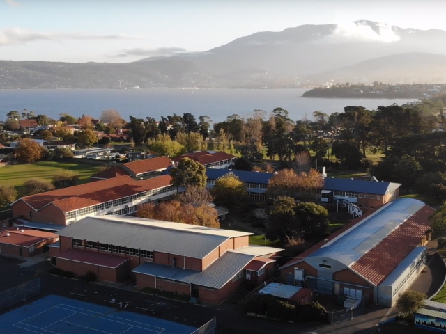 Aerial photo of school