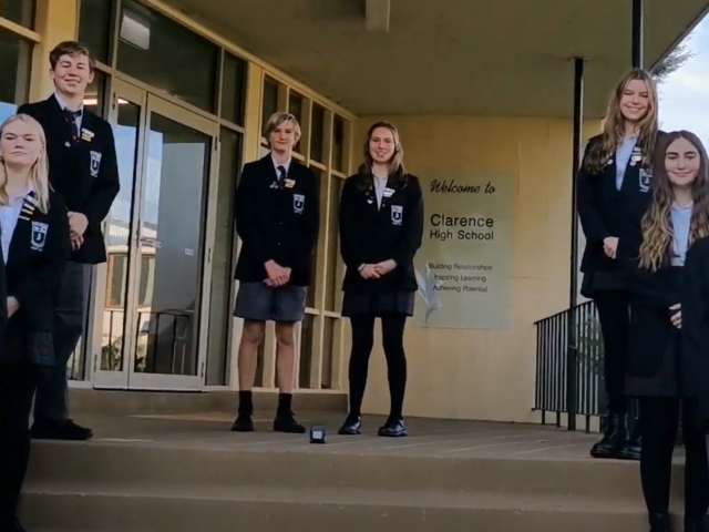 Prefects at school entrance