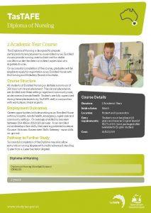 Download the Diploma of Nursing Fact Sheet PDF