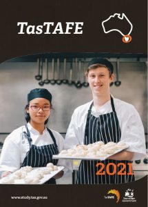 TasTAFE course guide for International students. Image is two students who are in a cookery class, baking pastries.